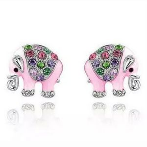 925 Silver Elephant crystal charm stud earring new